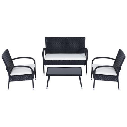 Set Mobili da Giardino 4 pezzi in PE Rattan Divano, 2 Sedie e Tavolino con Cuscini Crema