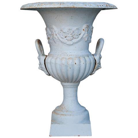 Vaso Con Manici In Fusione Di Ghisa Finitura Bianca Anticata Diam. 60xh75 Cm