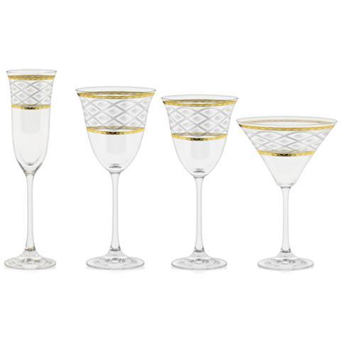 Servizio Bicchieri Con Incisione E Decorazione Filo Oro - Carisma