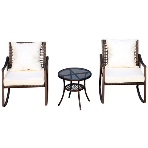Set 2 Sedie A Dondolo Da Giardino Con Tavolino Con Cuscini Esterno Rattan Marrone