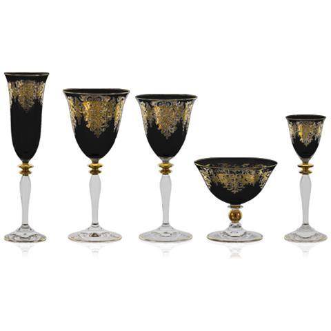 Servizio Di Bicchieri Di Colore Nero Con Decoro In Oro - Giulia