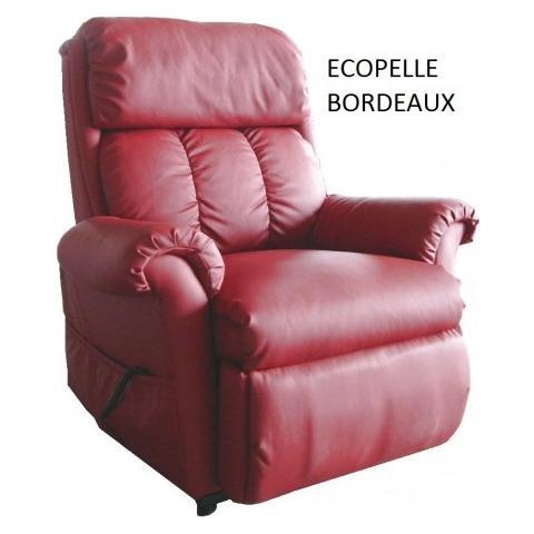 Casa ABC Poltrona Nadia Ecopelle Bordeaux Massaggiante Con Funzione di Alzata In Piedi Elettrica