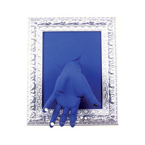 Antartidee Portachiavi da parete ''Cornice'' mano in resina decorata a mano cm 33x27x11, cromo e blu