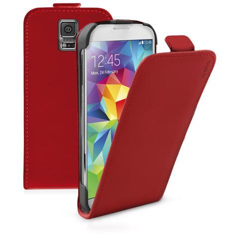 SBS TEFLIPSAS5R SMARTPHONE Custodia FLIP ecopelle con apertura a FLIP e cradle posteriore, colore rosso per Samsung Galaxy S5 / S5 Neo