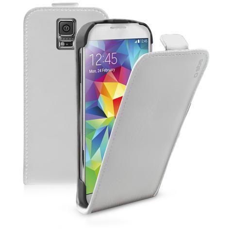 SBS TEFLIPSAS5W SMARTPHONE Custodia FLIP ecopelle con apertura a FLIP e cradle posteriore, colore bianco per Samsung Galaxy S5 / S5 Neo