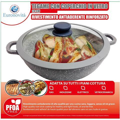 Padella Griglia Tegame Wok Con Manici Serie Pietra Grigio 24 Cm X H. 7 Cm