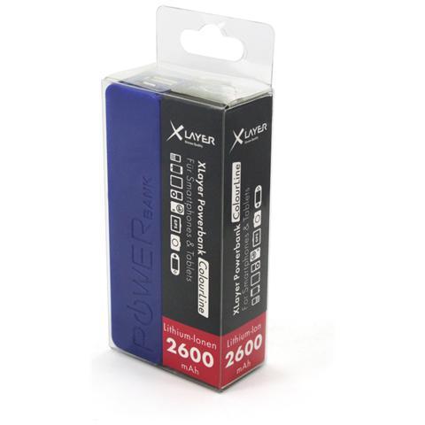 XLAYER Colour Line, Polimeri di litio (LiPo) , USB, Blu, USB, Plastica, Smartphone, Tablet