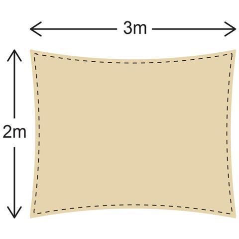 Rebecca Mobili Telo Parasole Vela Ombreggiante Rettangolare Beige Polietilene Con Corde Filtro Raggi Solari Uv Terrazza Piscina 2x3