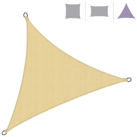 Rebecca Mobili Vela Parasole Telo Ombreggiante Triangolare Beige Polietilene Protezione Raggi Solari Giardino Campeggio 5x5x5