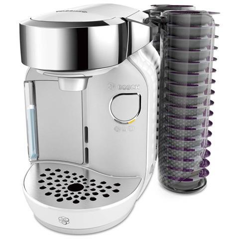 Macchina da Caffè Semi-automatica TASSIMO CADDY Serbatoio 1.2 Lt. Potenza 1300 Watt Colore Cromo / Bianco