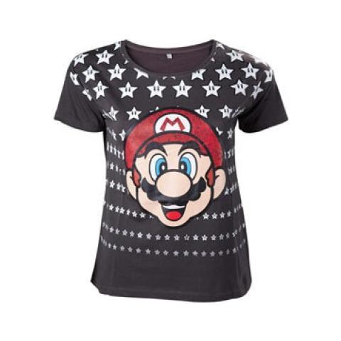 BIOWORLD Nintendo - Mario Black With Stars (T-Shirt Unisex Tg. M)