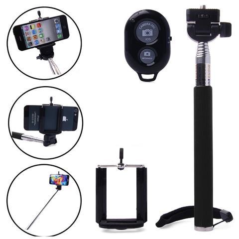 TAKESTOP Monopiede Allungabile Palo Estensibile + Wireless Bluetooth Selfie Telecomando Scatto Remoto + Phone Support Universale