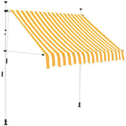 Tenda Da Sole Retrattile Manuale 150cm Strisce Gialle E Bianche