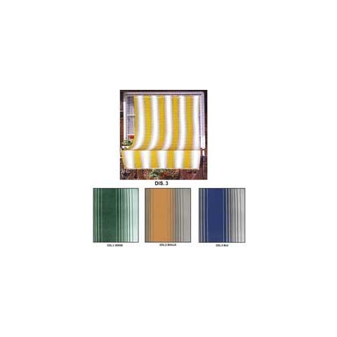 Tenda Da Sole Tessuto Resistente Per Balcone Con Anelli Lavabile Frange Pizzo Giallo - 140x250 Cm