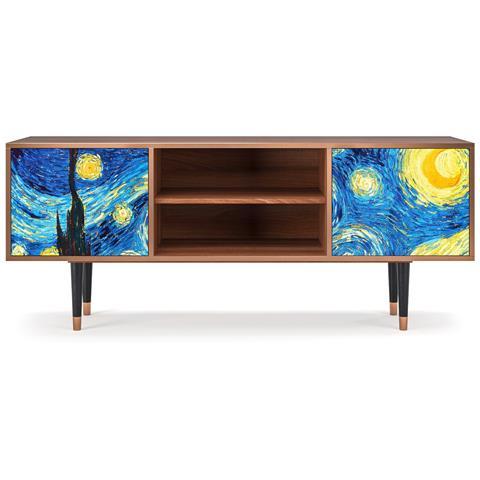 T2 Mobile Porta Tv, 2 Ante Con Apertura A Pressione, 170w X 48d X 69h - The Starry Night By Vincent Van Gogh