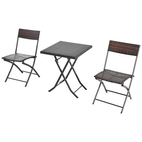 Set Tavolino da Giardino 3pz Tavolino con 2 Sedie Pieghevoli in Rattan, Marrone