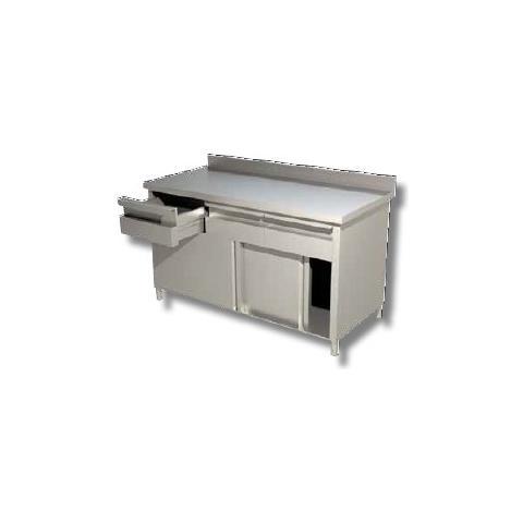 Tavolo 120x80x90 Acciaio Inox 430 Armadiato Alzatina Cassetti Ristorante Rs6591