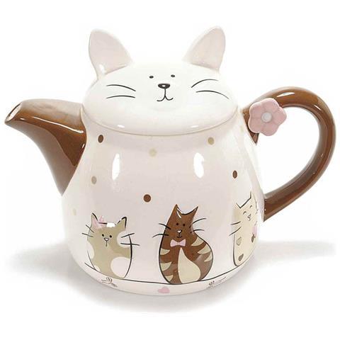 Teiera In Ceramica Bianca E Marrone Con Coperchio A Forma Di Gatto Con Decori.