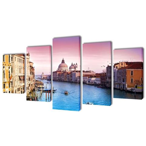 vidaXL 5 Pz Set Stampa Su Tela Da Muro Venezia 100 X 50 Cm