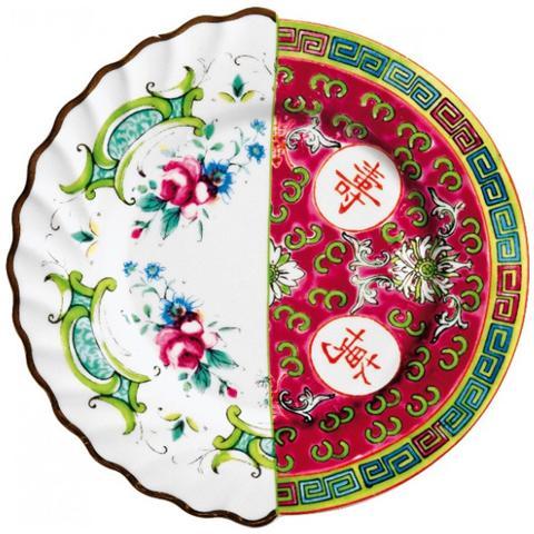 SELETTI Piatto Frutta in Porcellana Bone China Decorata Diametro Cm. 20 Altezza Cm. 1,6 Eudossia - Linea Hybrid