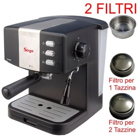 Granbar-c Macchina Per Caffè Espresso Per 1 O 2 Tazzine [2 Filtri Inclusi] E Cappuccino Caffè In Polvere Pressione 15bar - Caldaia 850 Watt