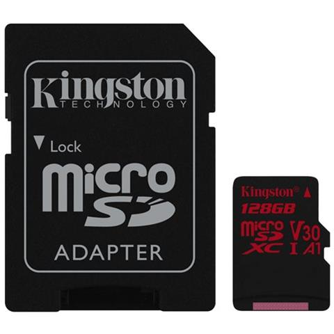 KINGSTON MicroSD da 128GB UHS-I 100MB / s in lettura e 80MB / s in scrittura + Adattatore