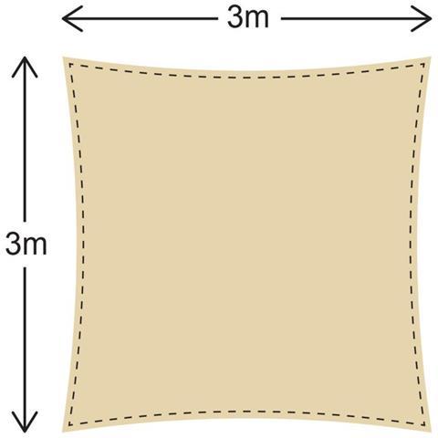 Rebecca Mobili Tenda Vela Parasole Quadrata Beige Polietilene Anti Uv Giardino Terrazza 3x3 Mt