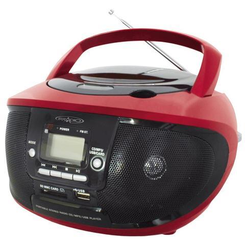 IRRADIO Radio Portatile CDKU-55C Sintonizzatore AM / FM Lettore CD Porta USB Slot SD / MMC Ingresso AUX colore Rosso / Nero