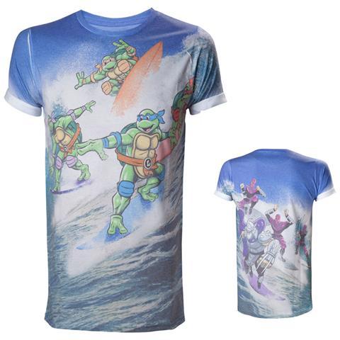 BIOWORLD Teenage Mutant Ninja Turtles - Allover Surfing Turtles Sublimation (T-Shirt Unisex Tg. M)