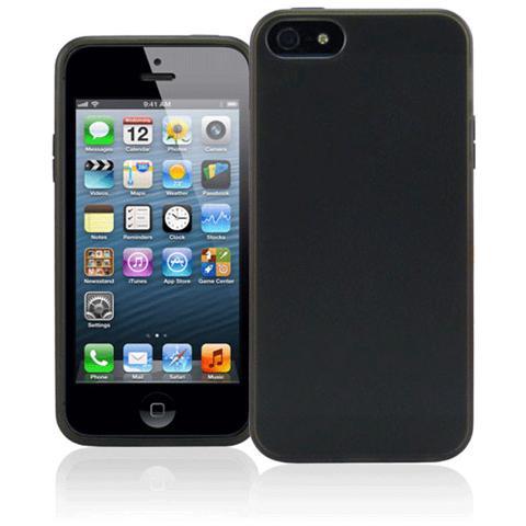 FONEX Foggy Cover in Morbido TPU per iPhone 5/5S / SE Colore Nero Trasparente