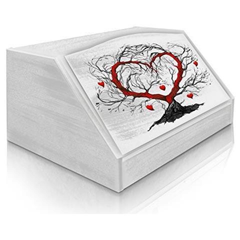 Lupia Portapane Con Decoro In 'l'albero Dell'amore White' In Legno White Dalle Dimensioni Di 30x40x20 Cm