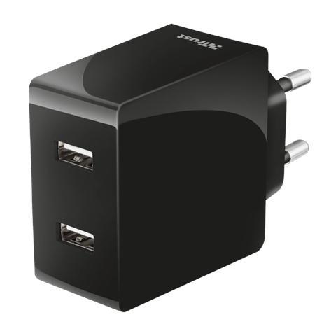 TRUST Caricabatteria da Rete con 2 porte USB da 12W