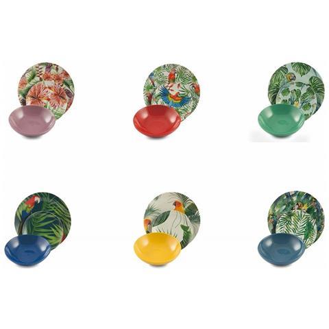 Servizio Piatti Da Tavola Multicolore Villa D'este Parrot Jungle Set 18 Pezzi