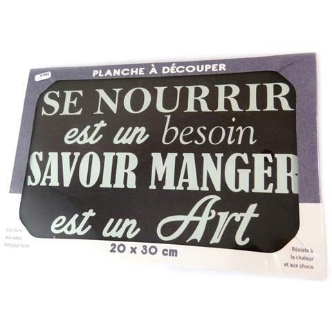scheda di taglio / tavolo di vetro opaco 'citations' (vale a dire mangiare è un'arte) - 30x20 cm - [ p1043]