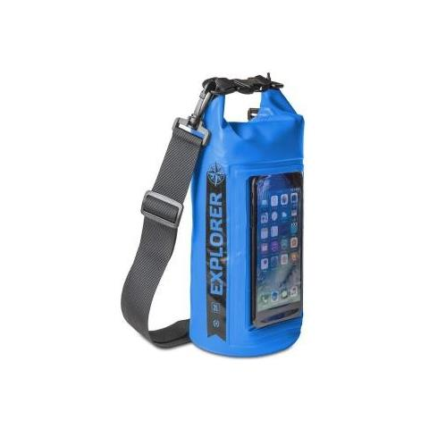 CELLY Borsa Impermeabile Explorer 2L con Tasca per Smartphone da 6.2'' Colore Blu