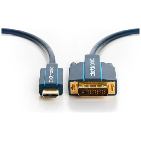 WENTRONIC Kabel / Adapter, HDMI, DVI-D, Maschio / maschio, Blu, Oro, Scatola