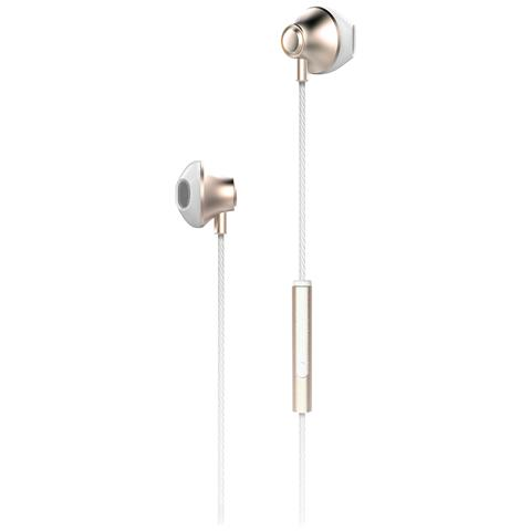 "PHONIX ITA Phonix PHAQ8G, Stereofonico, 3.5 mm (1/8"") , Interno orecchio, Oro, Bianco, Cablato, Intraurale"