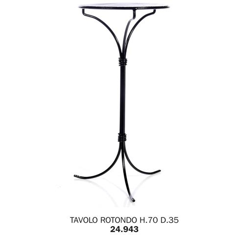 Tavolo Rotondo H. 70 D. 35 Pianale Rete Metallica