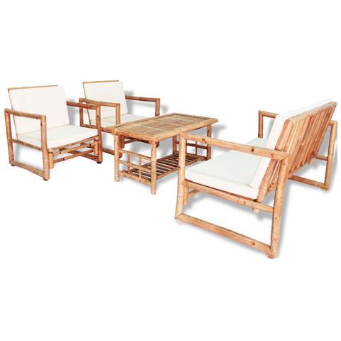Image of Set Mobili Da Giardino 12 Pz In Bamb