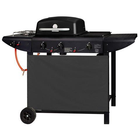 Barbecue A Gas Con 3 Fuochi E Fornello Laterale Piastra In Ghisa Con Ruote