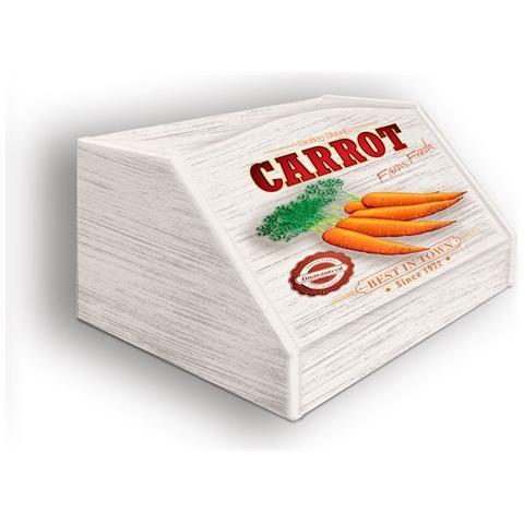 Lupia Portapane Con Decoro In 'carrot' In Legno Shabby Dalle Dimensioni Di 30x40x20 Cm