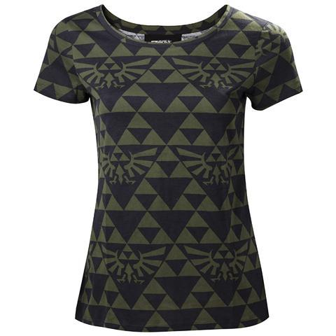 BIOWORLD Nintendo - Zelda Green Black Hyrule (T-Shirt Donna Tg. L)