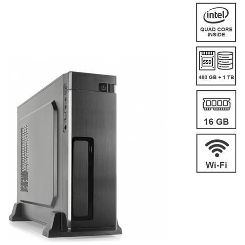 Image of Mini Pc Micro Assemblato Intel Celeron Quad j4125 Core 2.0 Ghz Ram 16 GB SSD 480 GB Hard Disk 1 TB Wi-Fi 300 mbps Windows 10 PRO