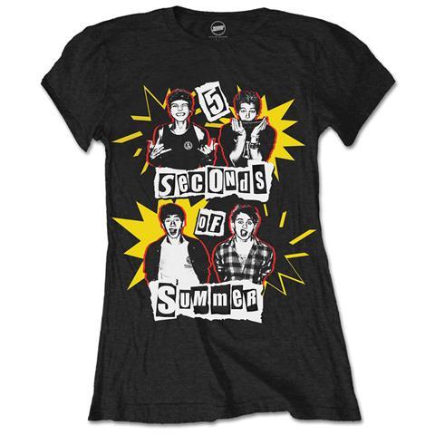 ROCK OFF 5 Seconds Of Summer - Punk Pop Photo (T-Shirt Donna Tg. L)