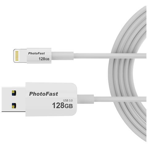 PhotoFast Cavo microUSB con memoria da 128GB e ricarica Lighting / USB 3.0 lunghezza 1 Metro - Bianco