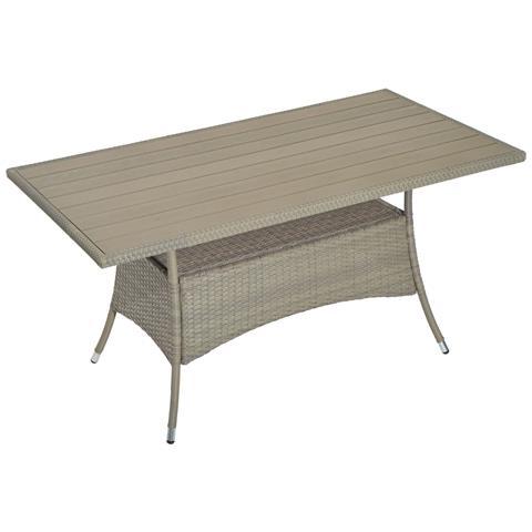 Tavolo Da Esterno Intrecciato In Pe Rattan, Grigio, 150x85x74cm