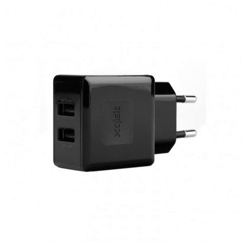 XQISIT Travel Charger 3,4A Dual USB nero