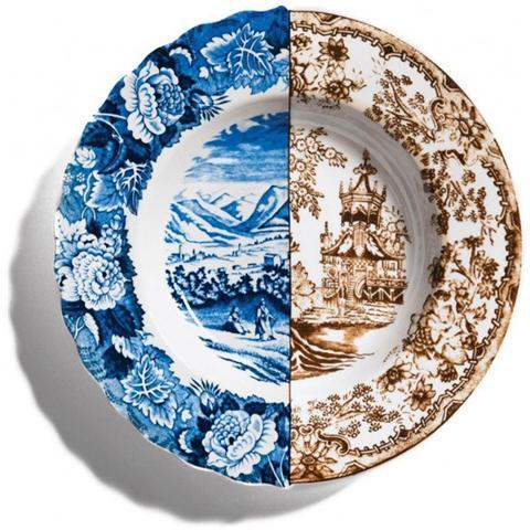 SELETTI Piatto Fondo in Porcellana Bone China Decorata Diametro Cm. 25,4 Altezza Cm. 4,2 Sofronia - Linea Hybrid