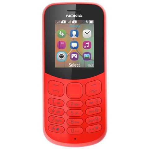 "NOKIA 130 Dual Sim Rosso Display 1.8"" + Slot MicroSD Bluetooth Fotocamera 1.3 Mpx - Italia"