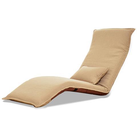 Sdraio Relax, Pieghevoli, Sfoderabili, Per Interni Ed Esterni In Acciaio Inox, Con Cuscino Beige - 179 X 60 X 9 Cm